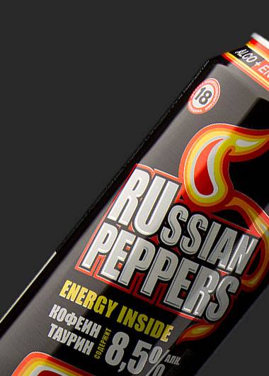 Alco energy drink RUSSIAN PEPPERS can design.